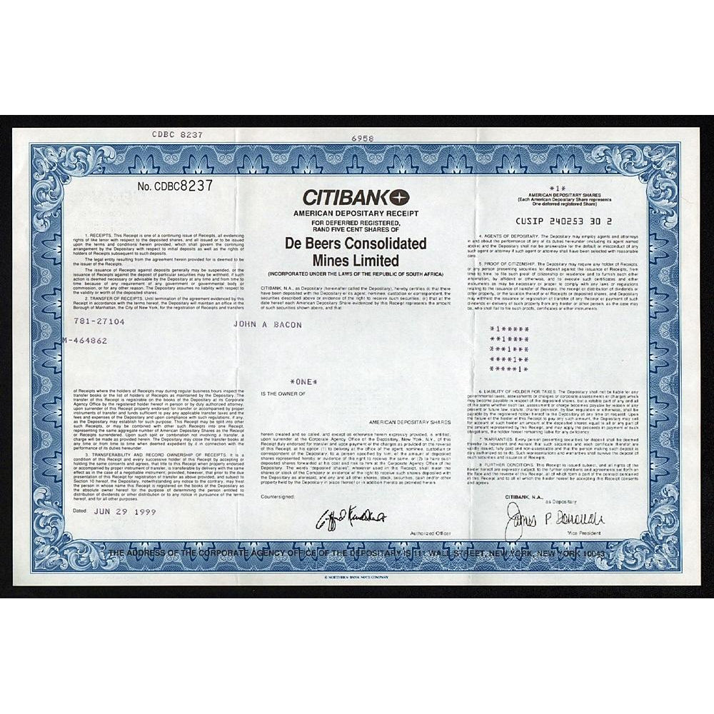 De Beers Consolidated Mines Limited (Citibank) South Africa Stock Certificate