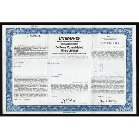 De Beers Consolidated Mines Limited (Citibank) Stock Certificate
