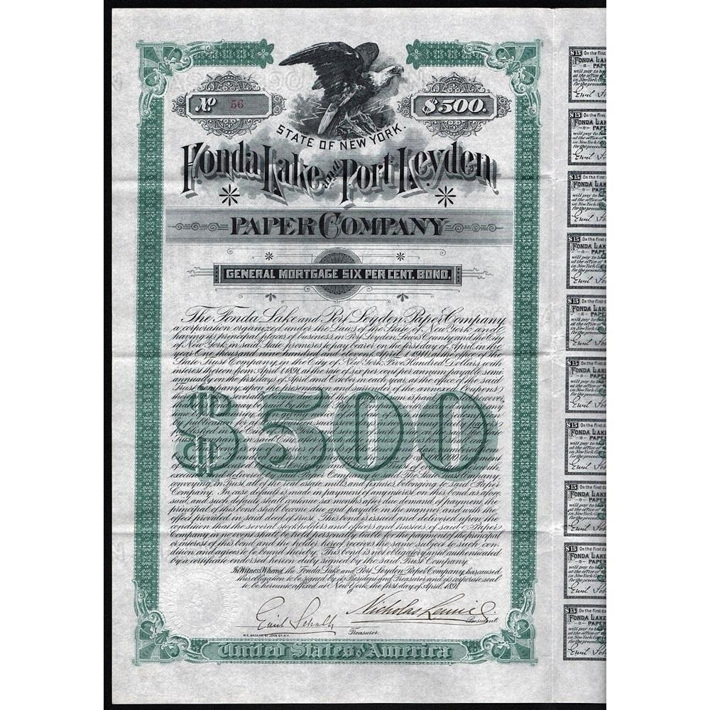 Fonda Lake and Port Leyden Paper Company Stock Certificate