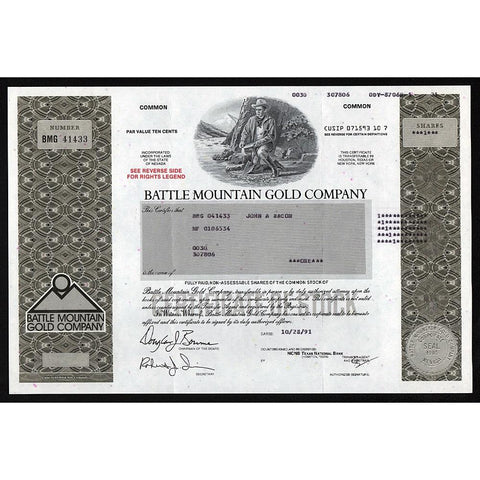 Battle Mountain Gold Company Stock Certificate