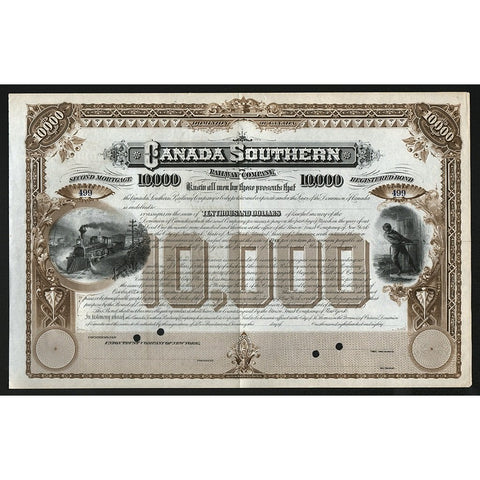 Canada Southern Railway Company 1880 Stock Bond Certificate