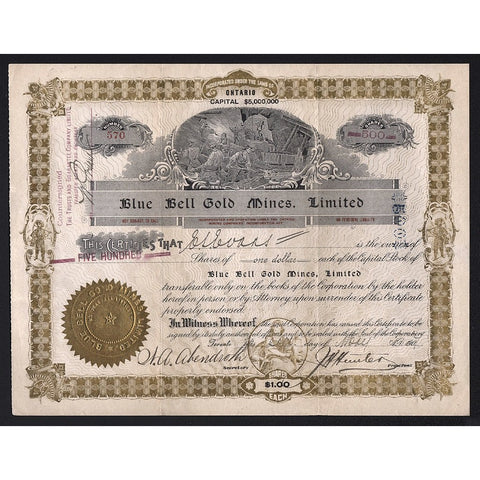 Blue Bell Gold Mines, Limited Stock Certificate