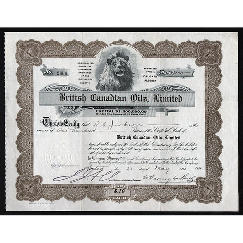 British Canadian Oils, Limited 1914 Alberta Canada Stock Certificate