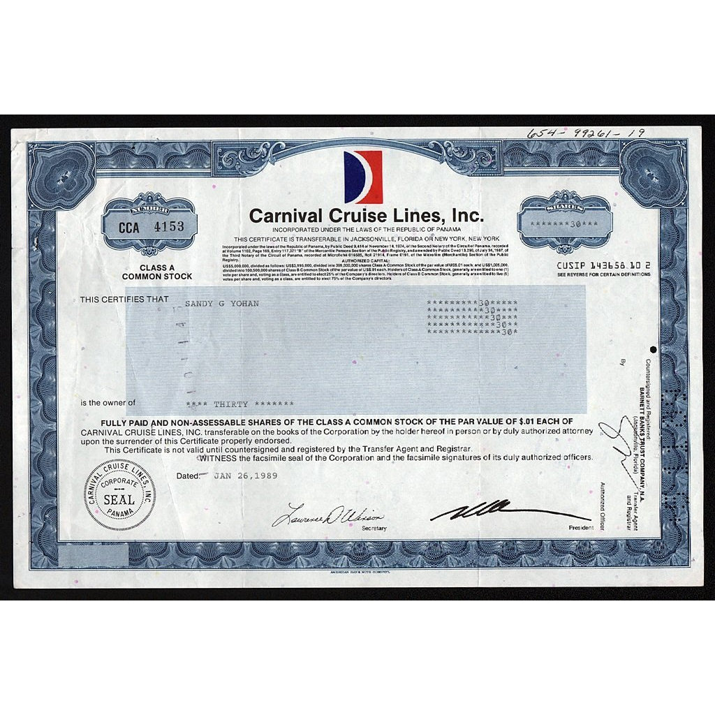 Carniaval Cruise Lines, Inc. (Panama) Stock Certificate