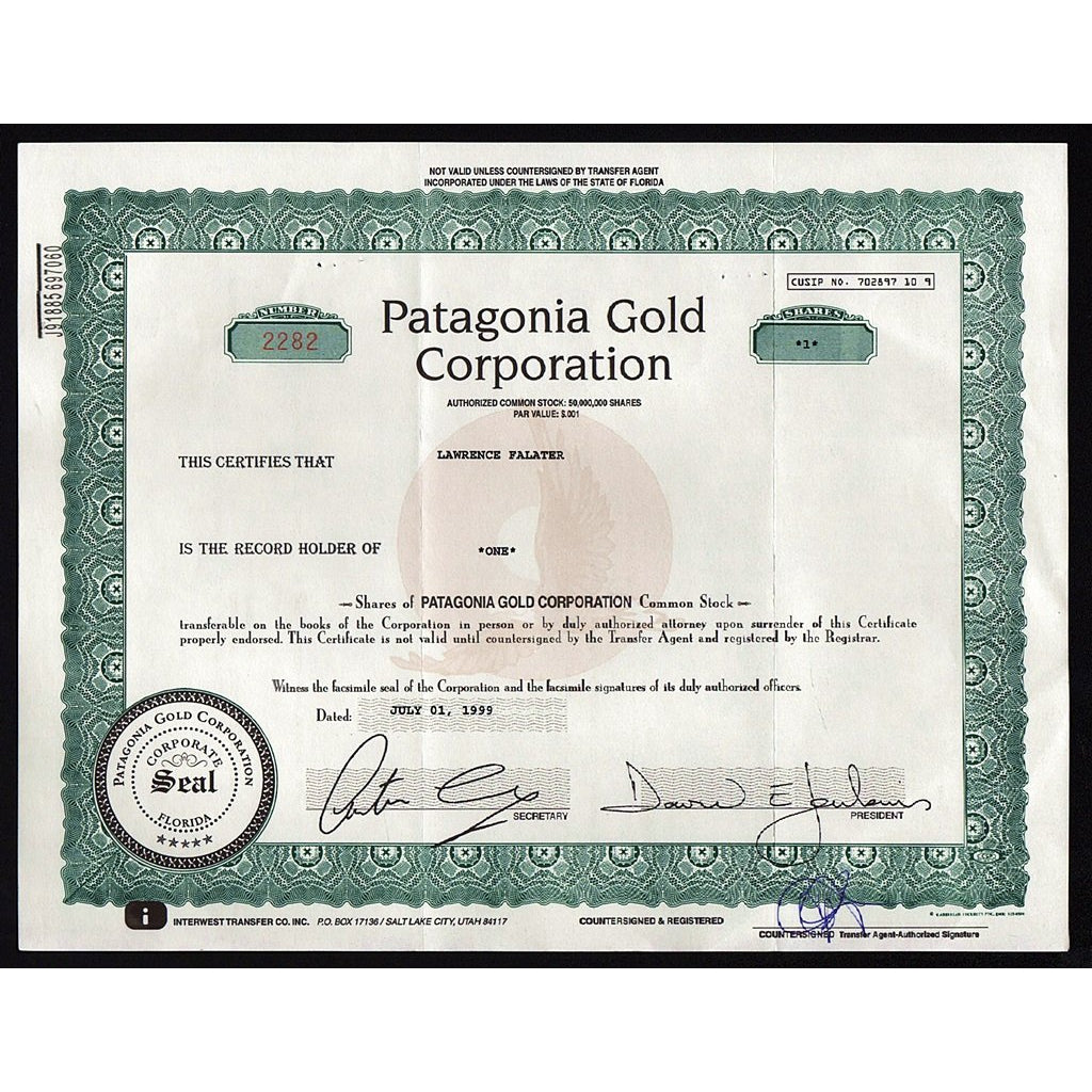 Patagonia Gold Corporation Florida Mining Stock Certificate