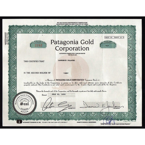 Patagonia Gold Corporation Stock Certificate