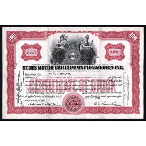 Stutz Motor Car Company of America, Inc. Stock Certificate