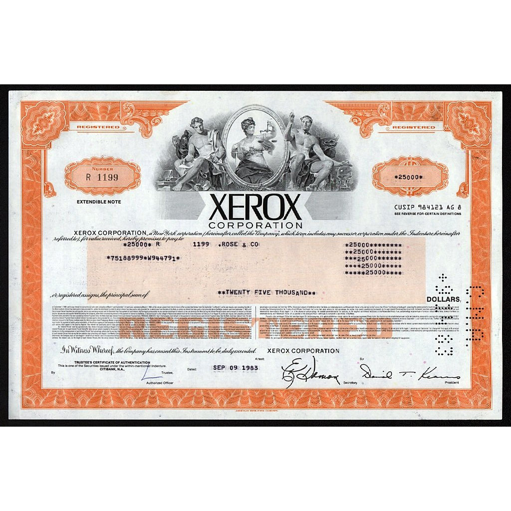 Xerox Corporation 1983 New York Stock Bond Certificate