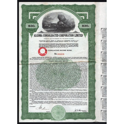 Algoma Consolidated Corporation Limited (Canada) Bond Certificate
