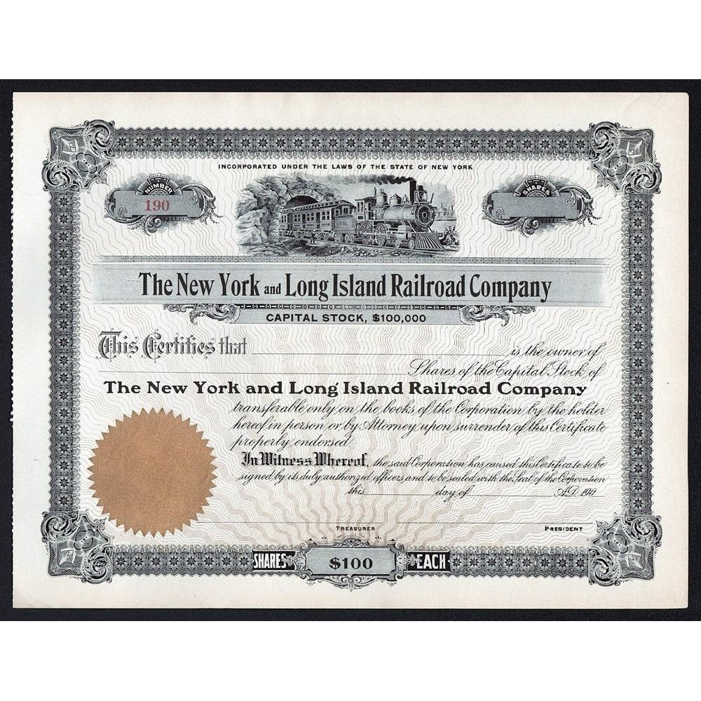 The New York and Long Island Railroad Company Stock Certificate