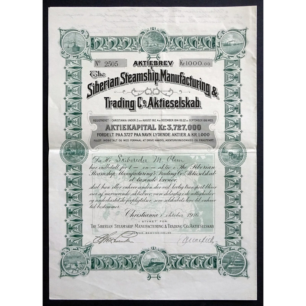 Siberian Steamship, Manufacturing & Trading Co., Bond Certificate
