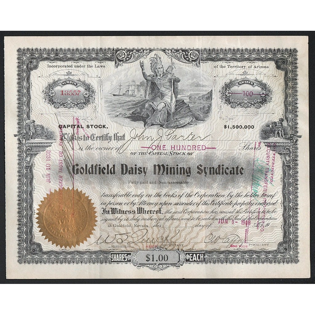 Goldfield Daisy Mining Syndicate (Goldfield, Nevada) Stock Certificate
