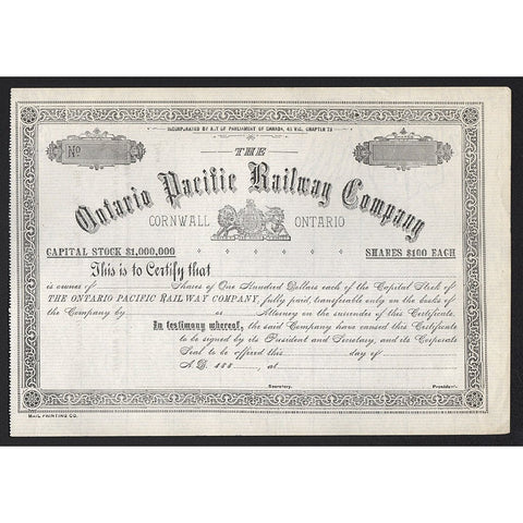 Ontario Pacific Railway Company (Cornwall, Ontario) 1880s Canada Stock Certificate