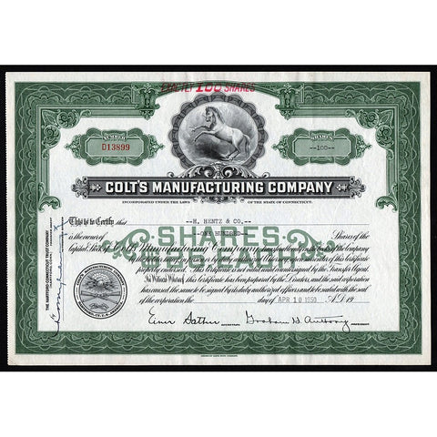 Colt's Manufacturing Company Pistols & Firearms 1950 Stock Certificate