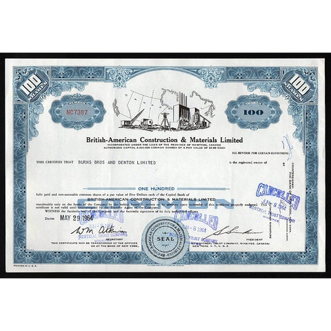 British-American Construction & Materials (Manitoba) Stock Certificate
