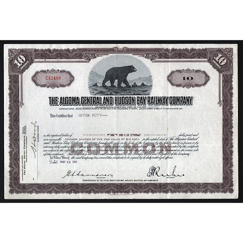 The Algoma Central and Hudson Bay Railway Company Canada Stock Certificate