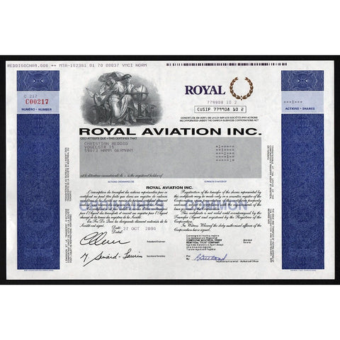Royal Aviation Inc. Stock Certificate