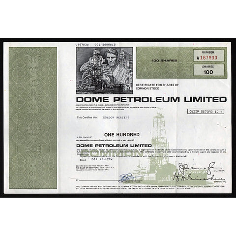 Dome Petroleum Limited Stock Certificate