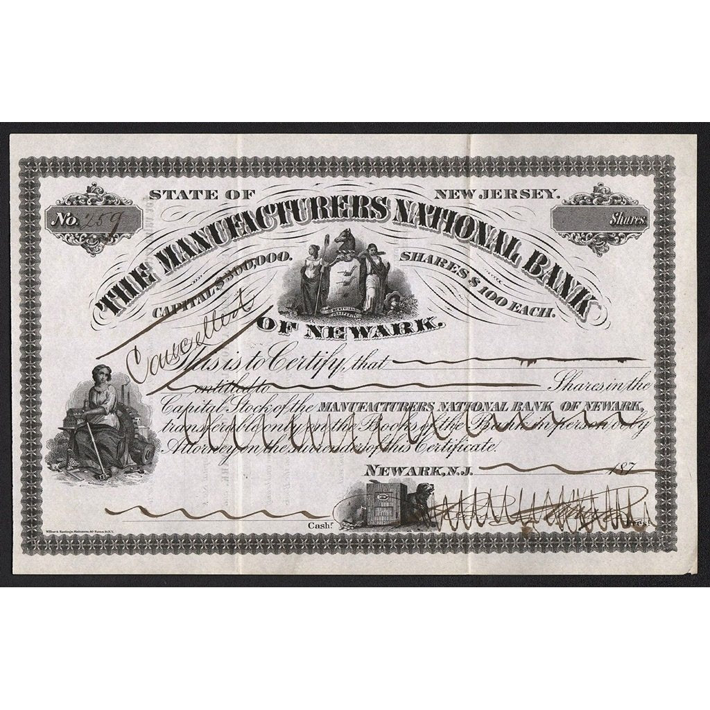 The Manufacturers National Bank of Newark New Jersey 1870s Stock Certificate
