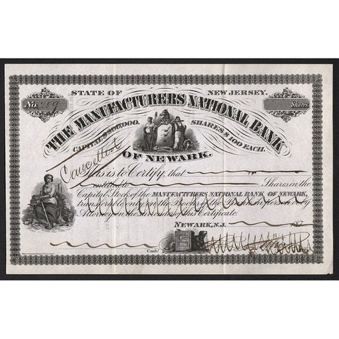 The Manufacturers National Bank of Newark Stock Certificate