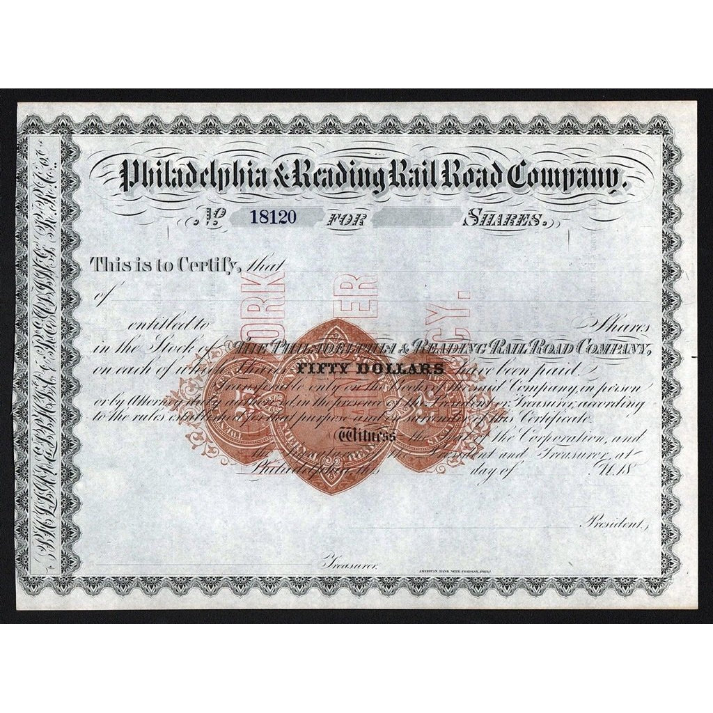 Philadelphia & Reading Rail Road Company Stock Certificate
