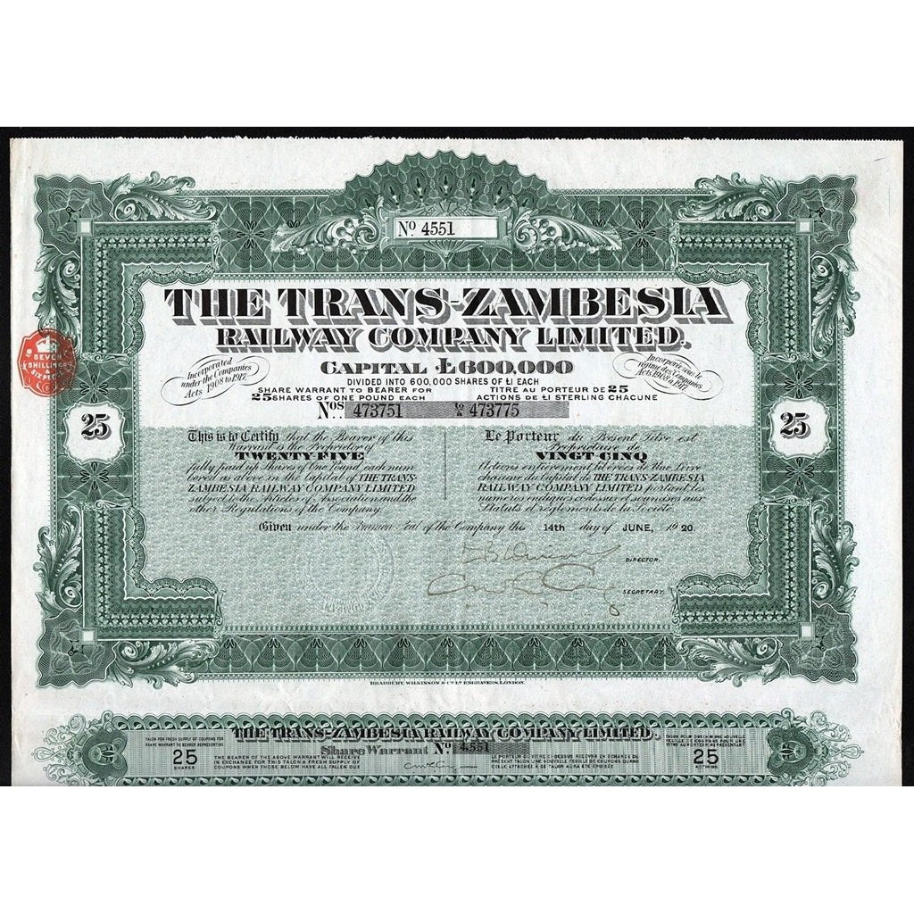 The Trans-Zambesia Railway Company Limited 1920 Stock Certificate Rhodesia