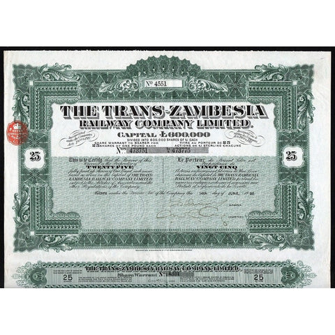 The Trans-Zambesia Railway Company Limited Stock Certificate Rhodesia
