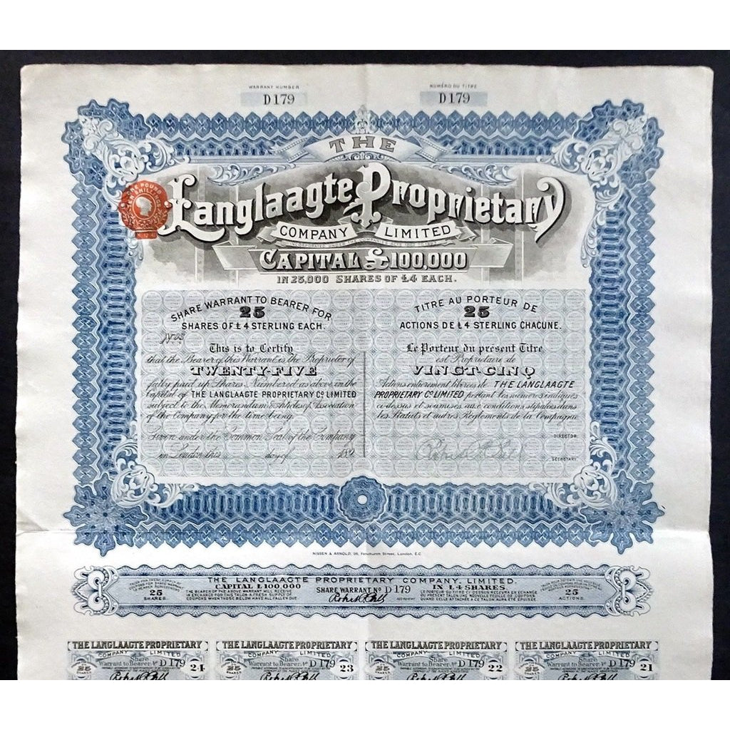The Langlaagte Proprietary Company South Africa 1890s Stock Certificate