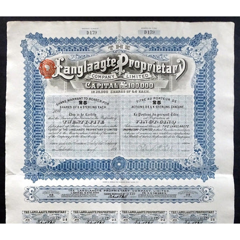 The Langlaagte Proprietary Company Limited Stock Certificate