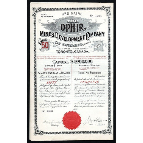 The Ophir Mines Development Company of Ontario, Limited Stock Certificate