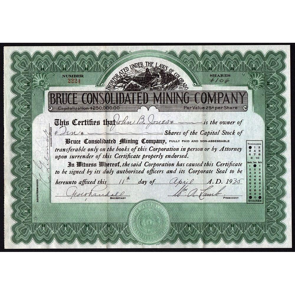 Bruce Consolidated Mining Company Stock Certificate
