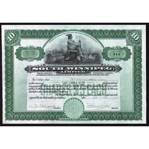 South Winnipeg, Limited 1913 Manitoba Canada Stock Certificate Railroad