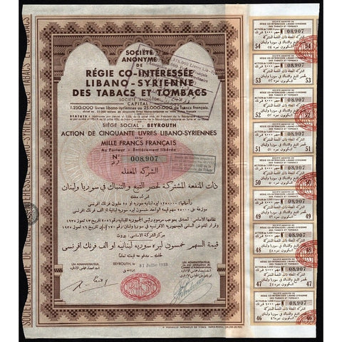 Societe Anonyme de Regie Co-Interessee Libano-Syrienne Des Tabacs et Tombacs Stock Certificate