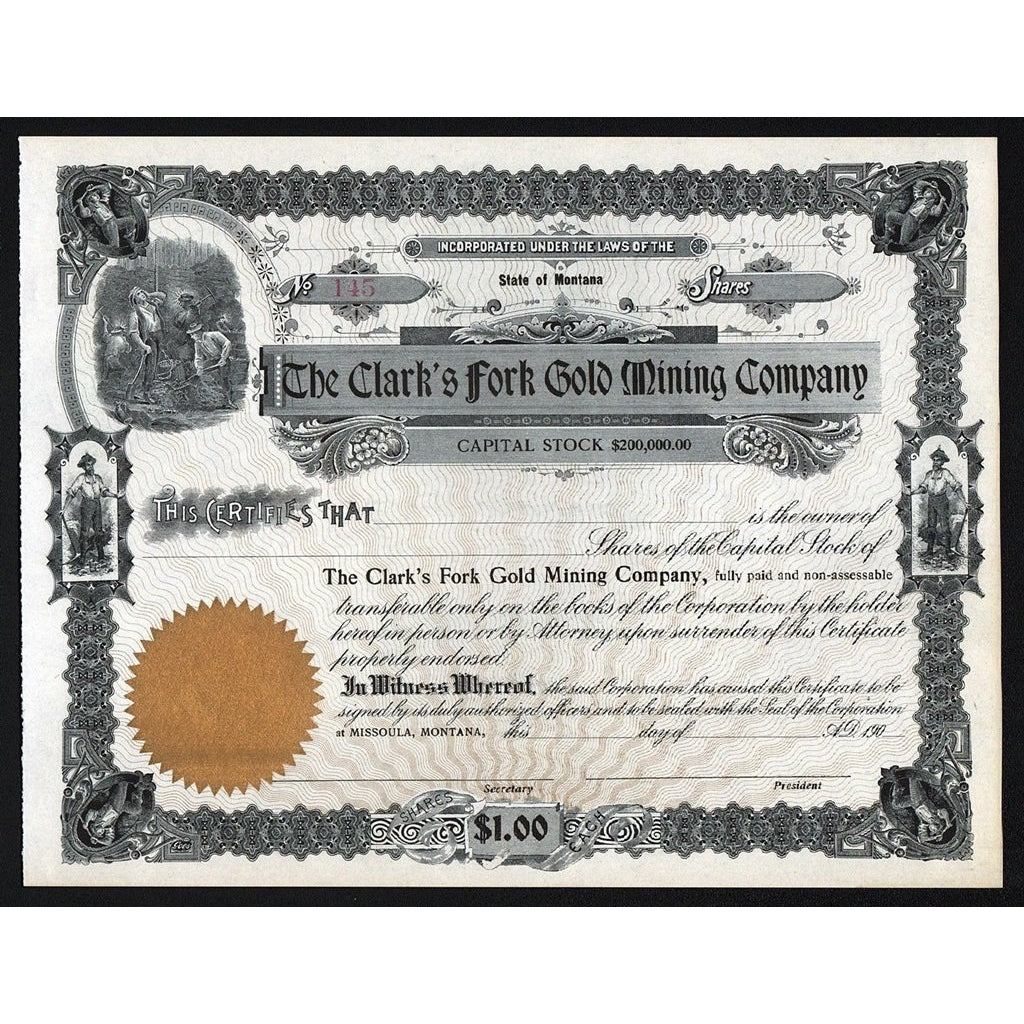 The Clark's Fork Gold Mining Company Montana Stock Certificate