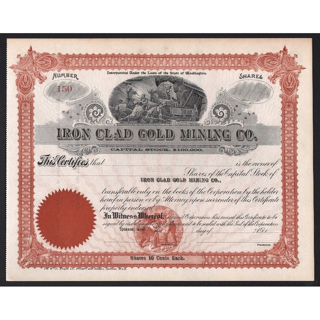Iron Clad Gold Mining Co Stock Certificate Artonpapers