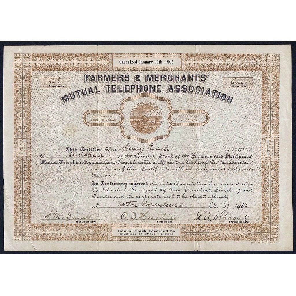 Farmers & Merchants' Mutual Telephone Association Stock Certificate