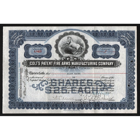 Colt's Patent Fire Arms Manufacturing Company Stock Certificate