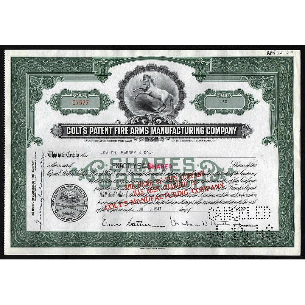 Stock Certificate Colt/'s Manufacturing Co