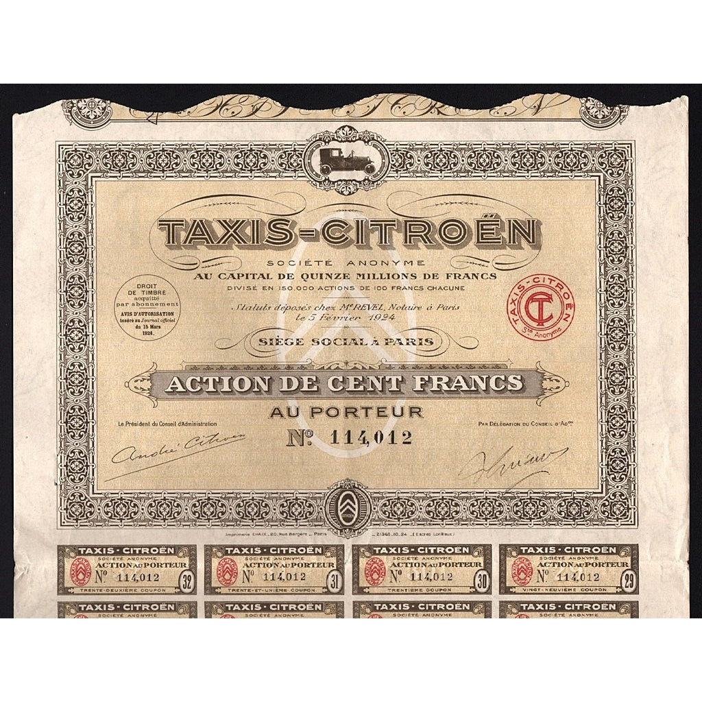 Taxis-Citroen Societe Anonyme 1924 France Stock Certificate Automobiles