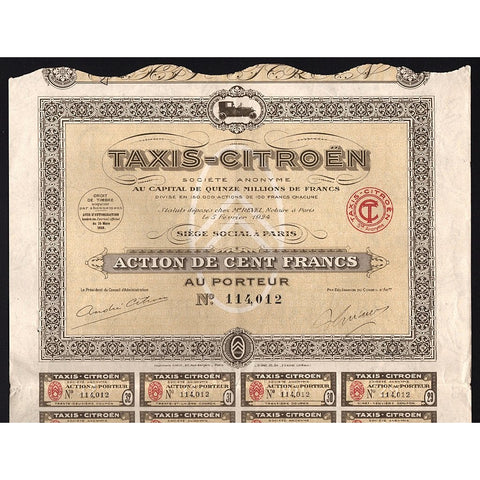 Taxis-Citroen Societe Anonyme Stock Certificate