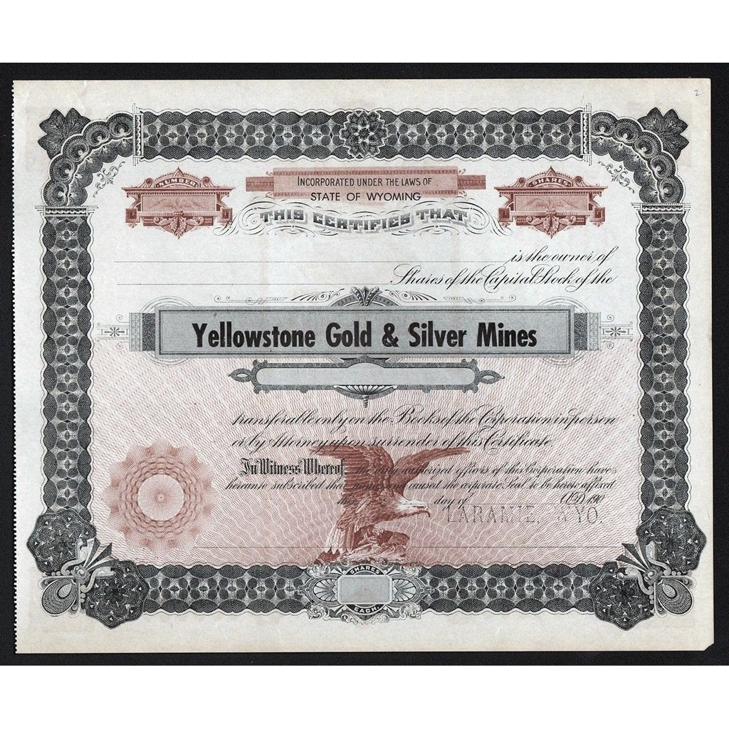 Yellowstone Gold & Silver Mines Wyoming Stock Certificate
