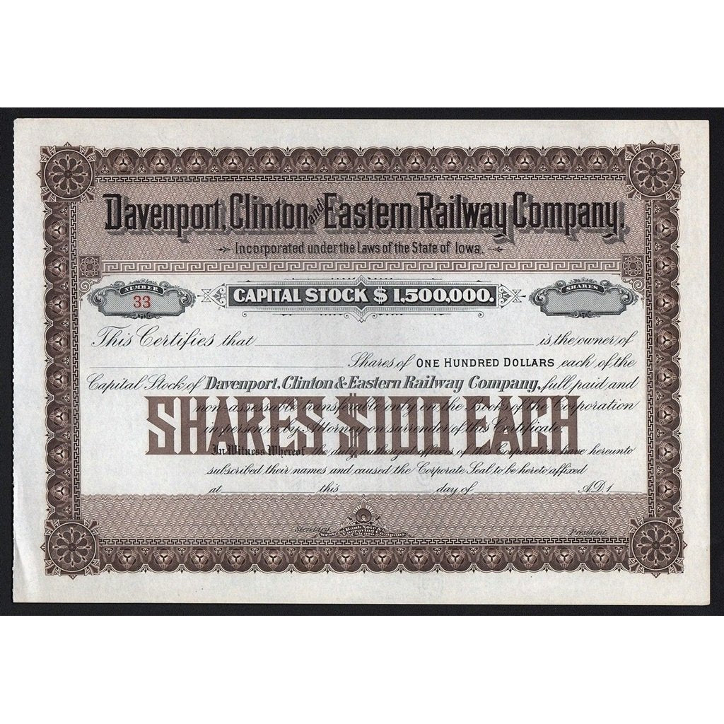 Davenport, Clinton and Eastern Railway Company Stock Certificate