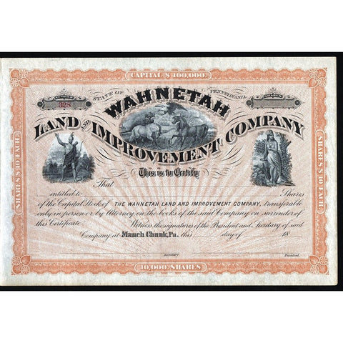 Wahnetah Land and Improvement Company Pennsylvania Stock Certificate