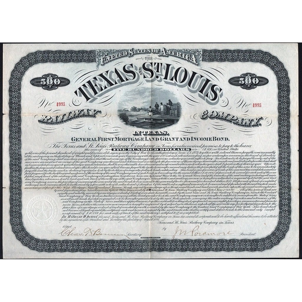 The Texas and St. Louis Railway Company in Texas 1881 Stock Bond Certificate