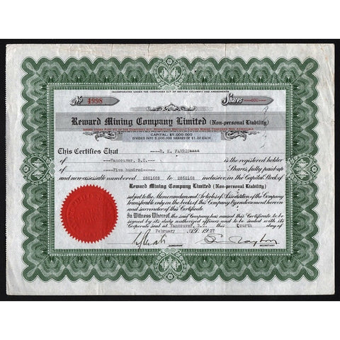 Reward Mining Company Limited Stock Certificate