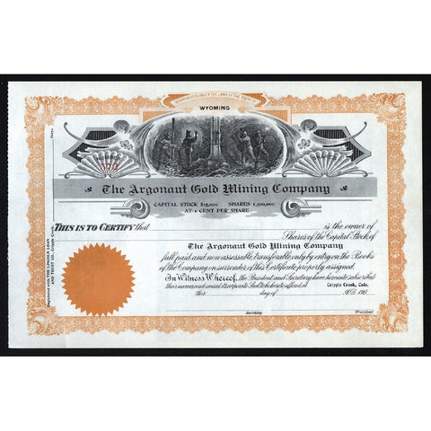 The Argonaut Gold Mining Company Stock Certificate