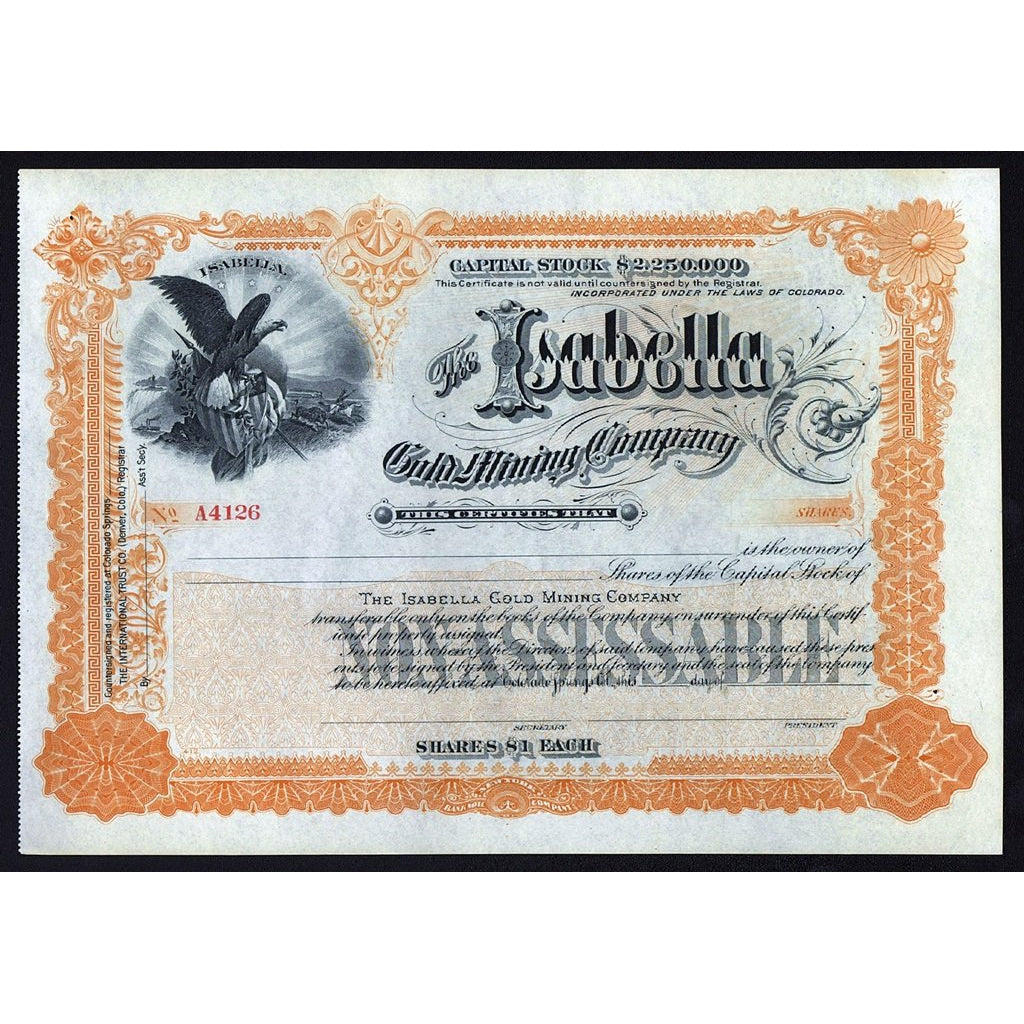 The Isabella Gold Mining Company Colorado Stock Certificate