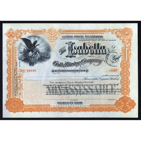 The Isabella Gold Mining Company Stock Certificate