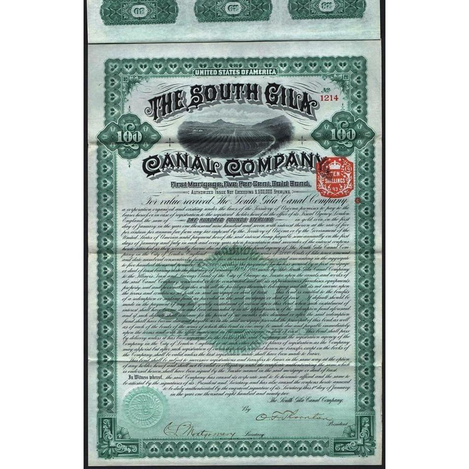 The South Gila Canal Company Stock Certificate