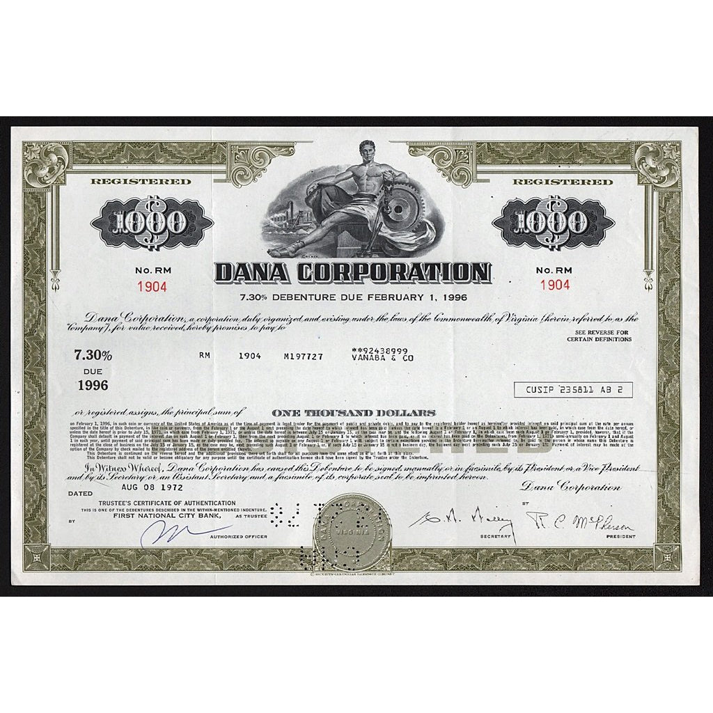 Dana Corporation Virginia Stock Bond Certificate